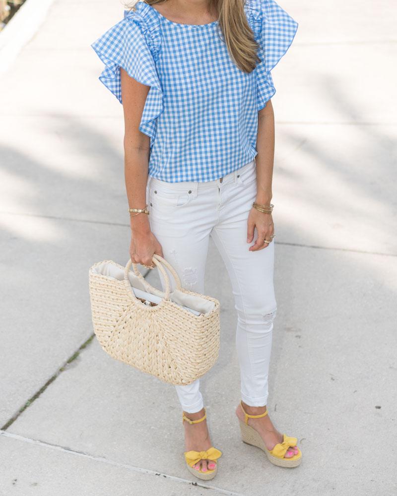 Gingham ruffle sleeve, white jeans