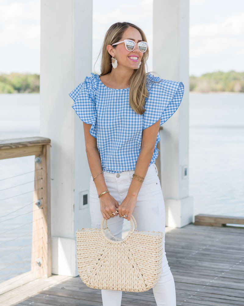 Gingham ruffle sleeve, white jeans, straw bag