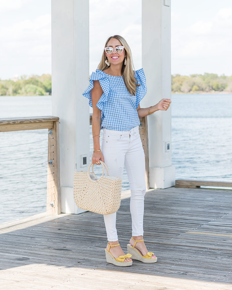 Gingham ruffle top, white jeans