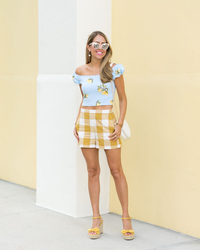 Lemon print top, gingham high waist shorts