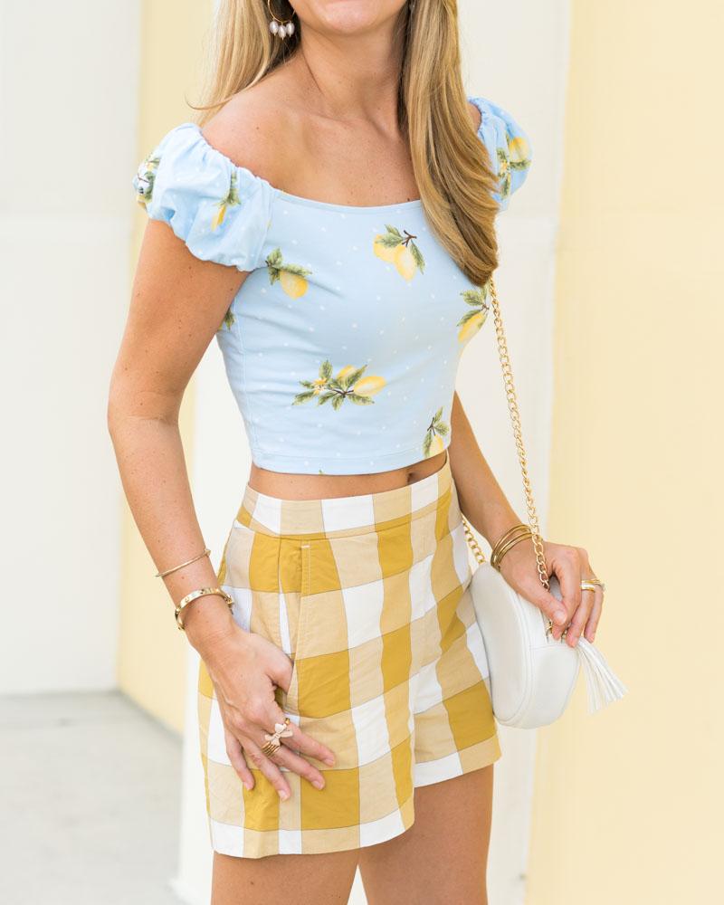 Lemon print top, gingham high waist shorts