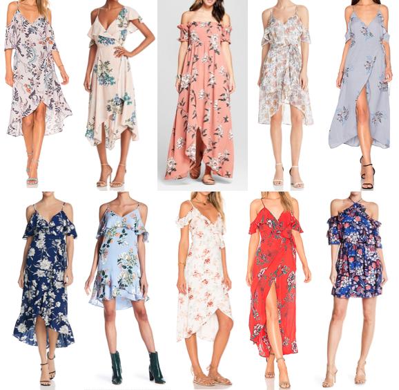 Floral cold shoulder dresses on a budget