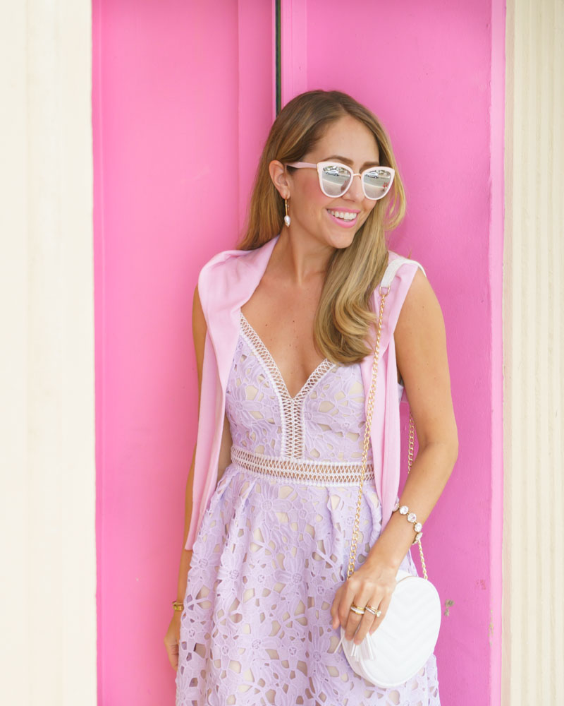 Lavender crochet lace dress