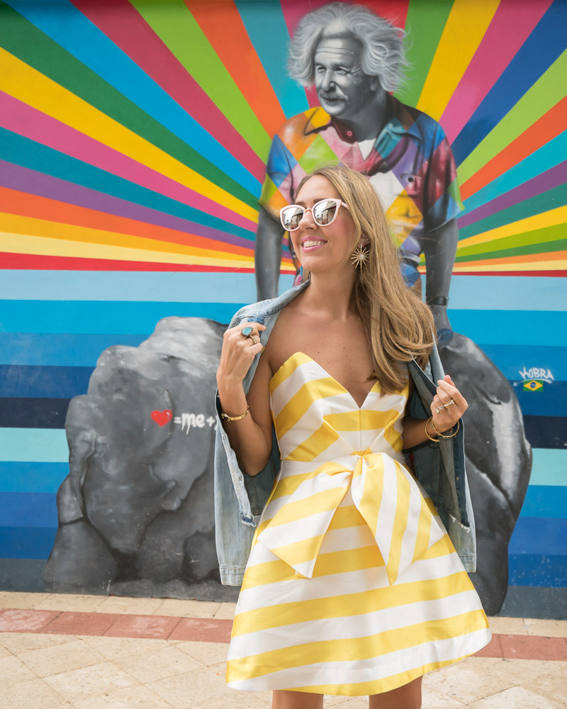 Yellow stripe dress, Kobra mural