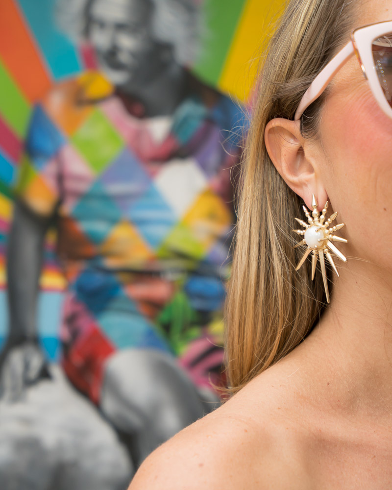 Kendra Scott star earrings, Einstein mural