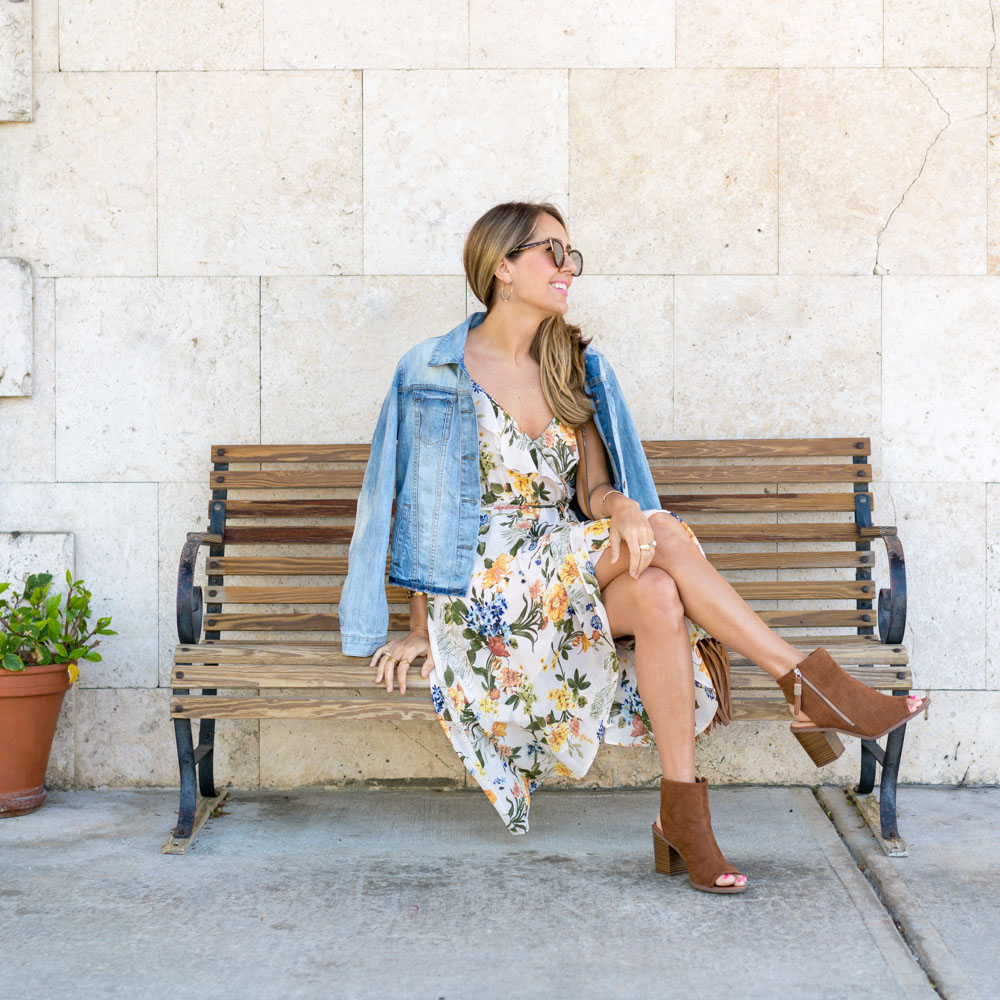 Floral dress, denim jacket, ankle boots