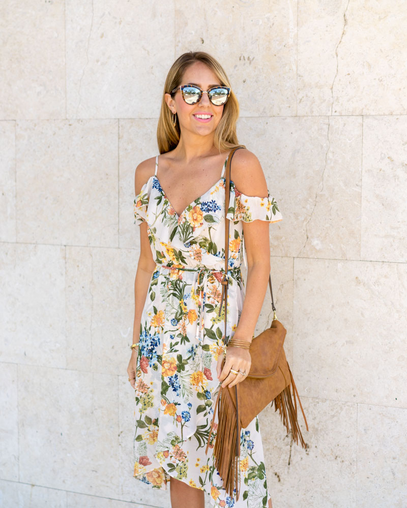 Floral dress, fringe purse