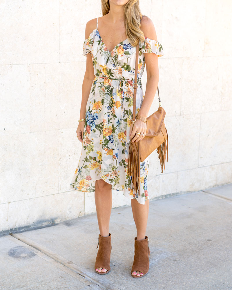 Floral dress,  ankle boots, fringe purse