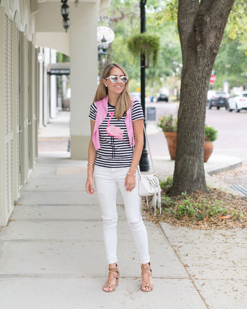 Stripe flamingo tee, white jeans
