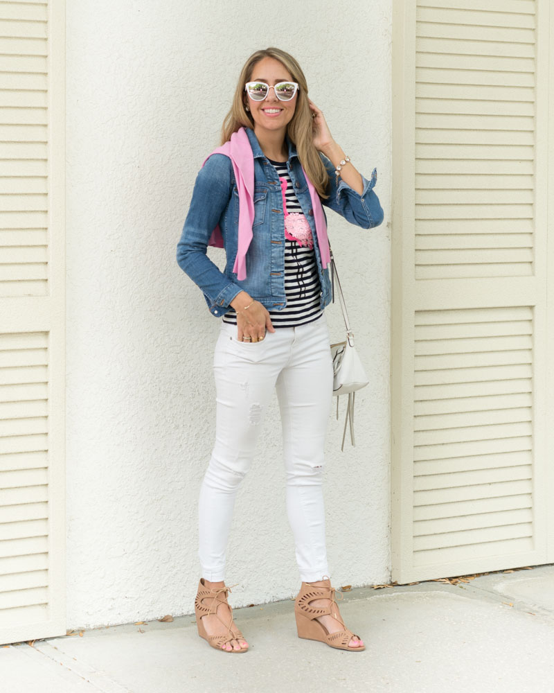 Stripe flamingo tee, denim jacket, white jeans
