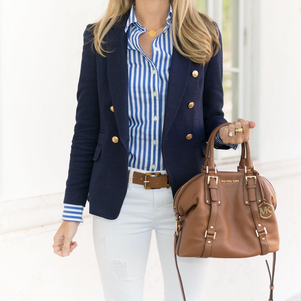 Navy blazer, blue stripes, white jeans