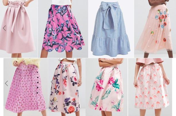 Pastel midi skirts on a budget