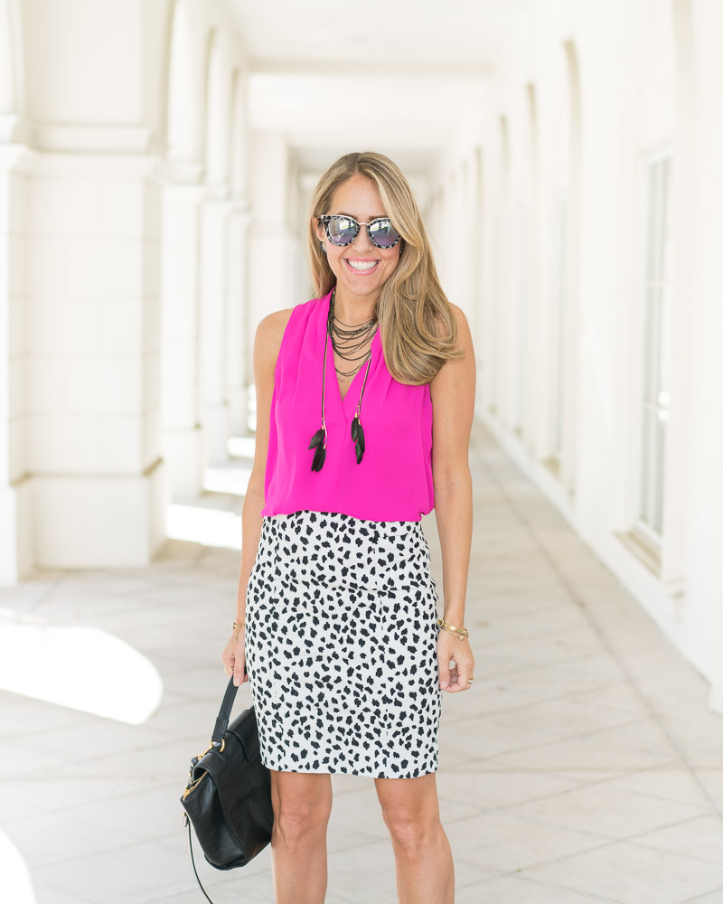 Office outfit: hot pink, Dalmatian print
