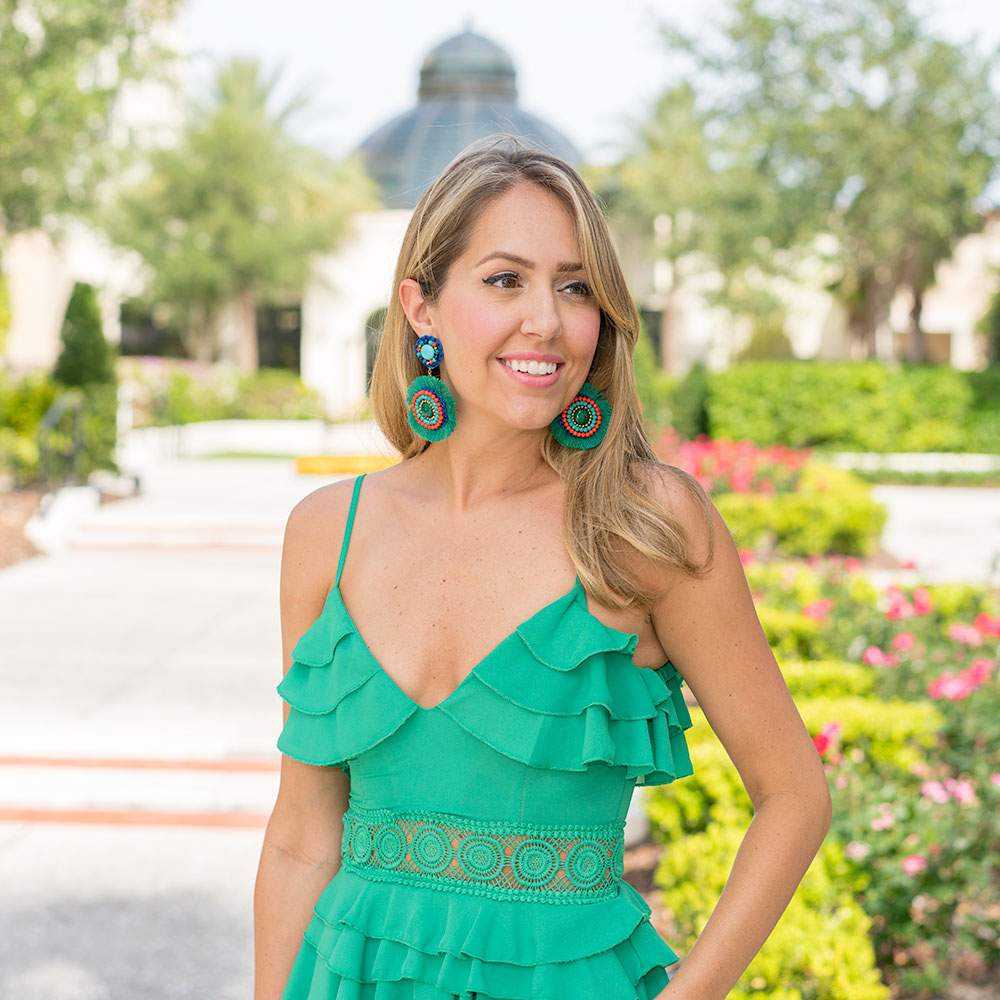 Green ruffle maxi dress