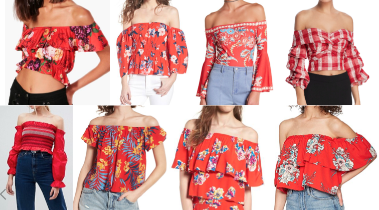 Red off shoulder tops