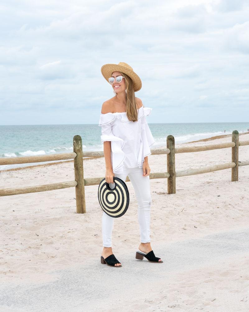 White outfit Koolaburra slides