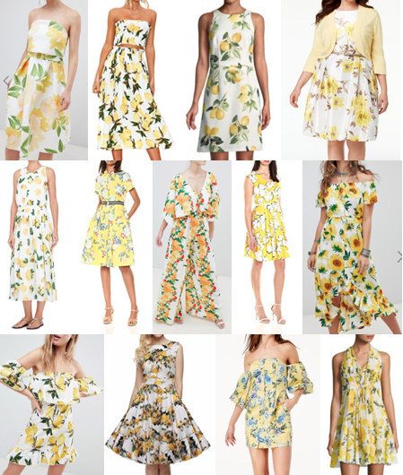 Lemon yellow print dresses on a budget