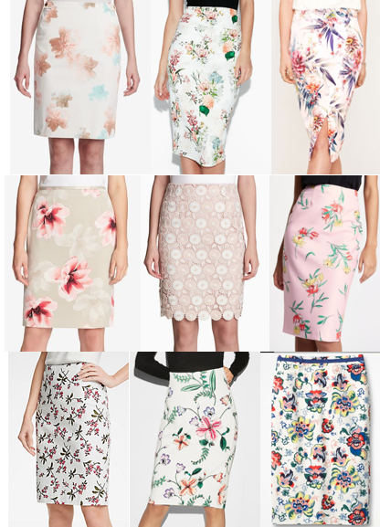 Pastel floral pencil skirts on a budget