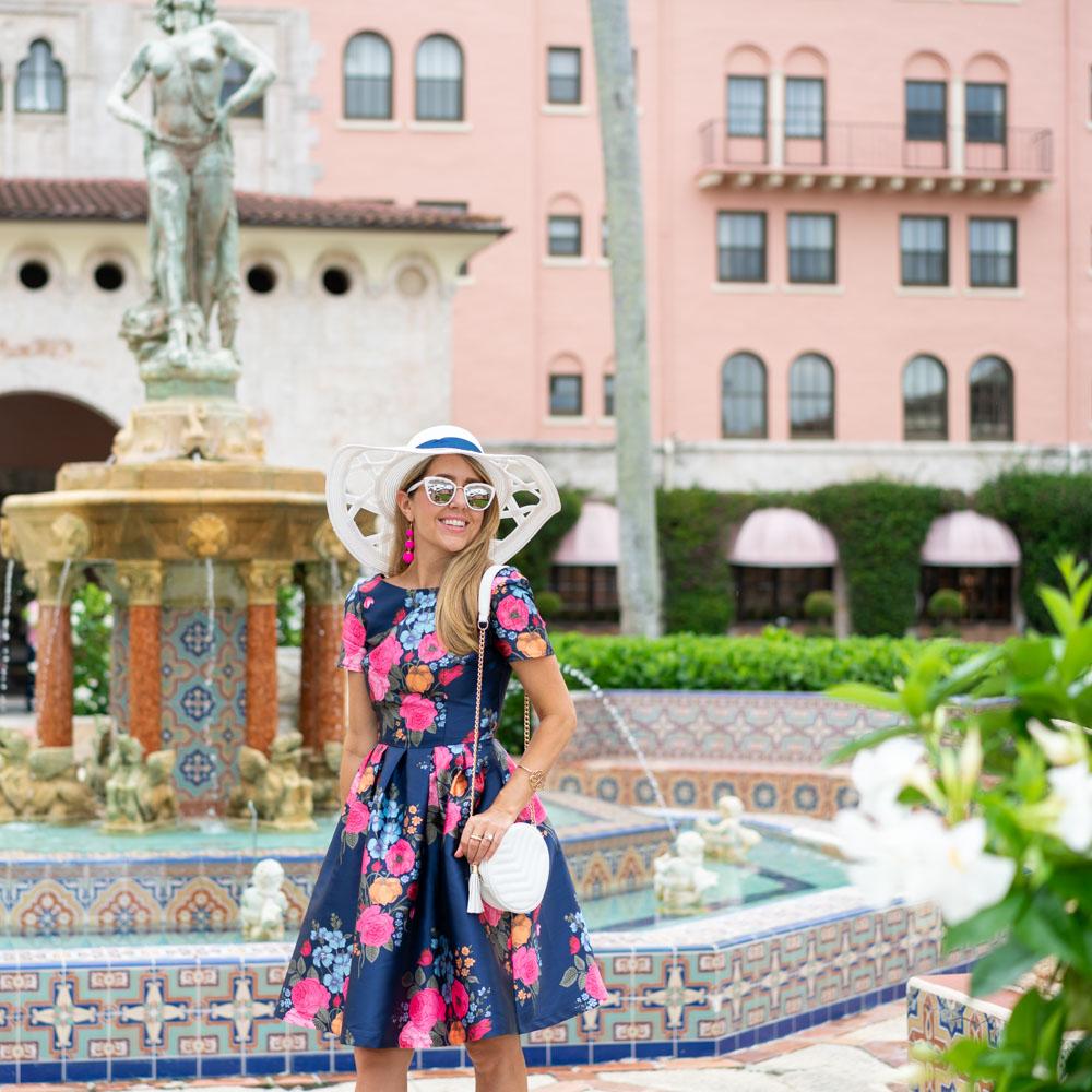 Navy floral Derby dress - Boca Resort