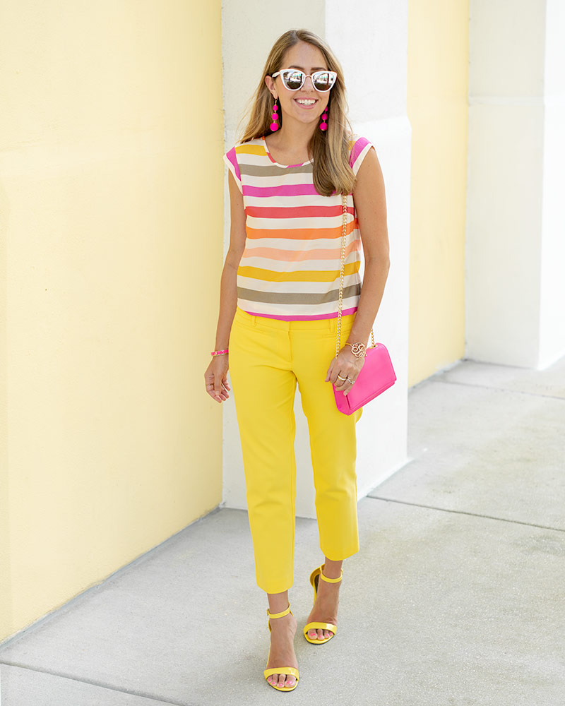 Colorful stripes, yellow pants, office outfit