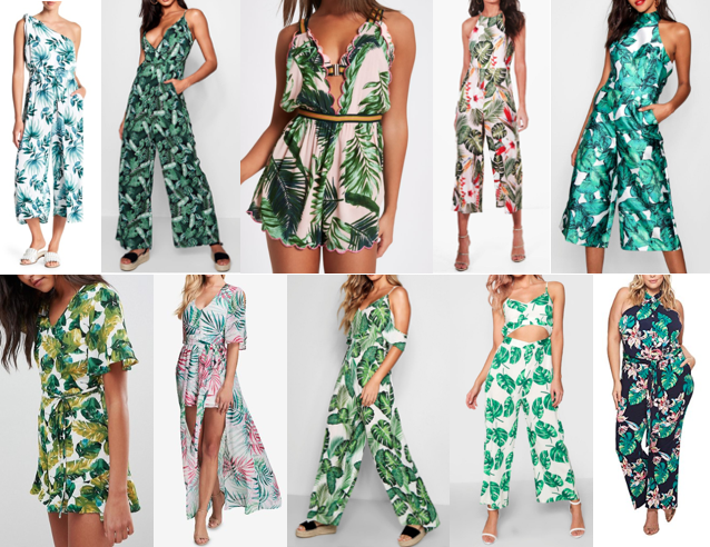 Palm print jumpsuits on a budget