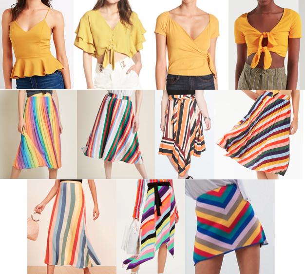 Rainbow stripe skirts on a budget