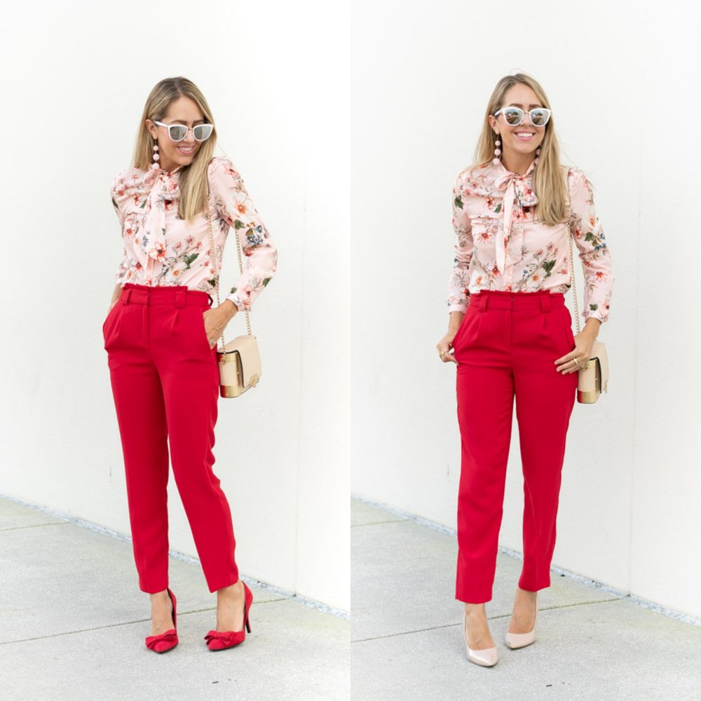 Todays Everyday Fashion: Pink Top, Red Pants — Js