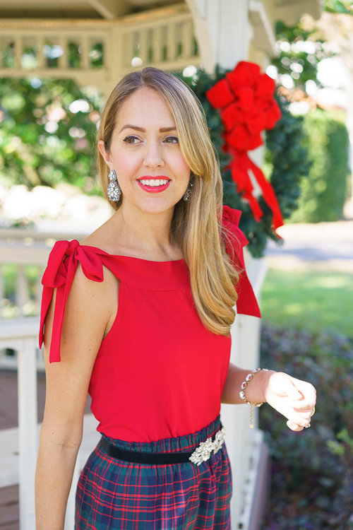 Red+bow+top,+plaid+skirt,+jeweled+velvet+belt.jpeg