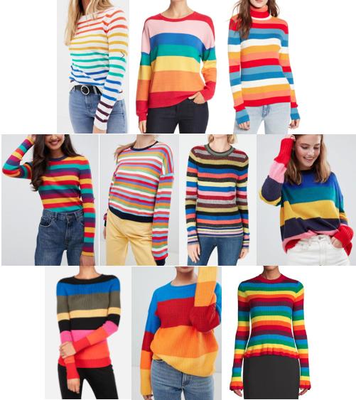 Rainbow stripe sweaters under $100