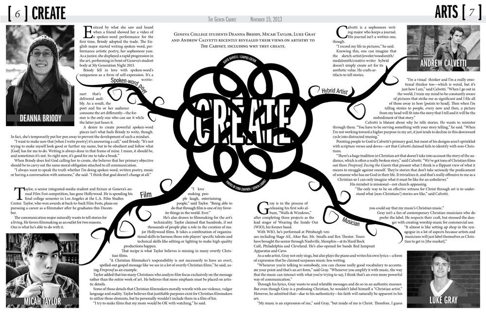 The center spread for the Geneva Cabinet issue on the arts.