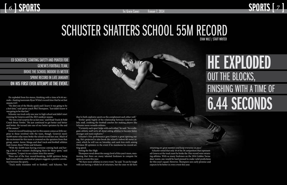 A center spread photograph and design for a feature on Geneva College sprinter Ed Schuster.