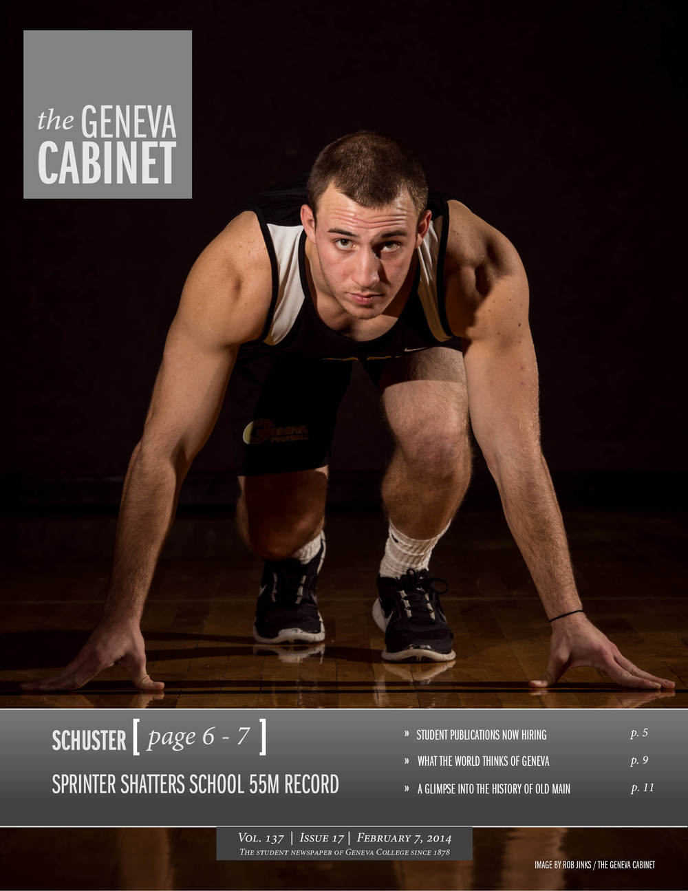 A front cover design of an issue of the Geneva Cabinet, featuring my photograph of Ed Schuster, a record breaking sprinter at Geneva College.