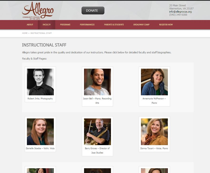 The Allegro CSA website staff bio page.
