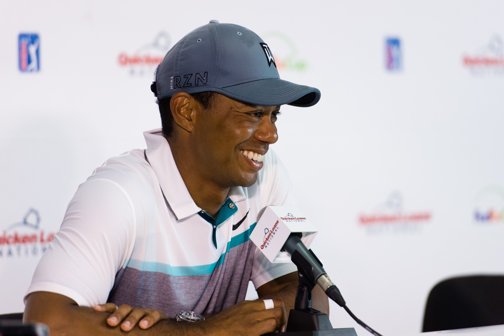 Tiger Woods at the Quicken Loans Golf Tournament at Robert Trent Jones Golf Club