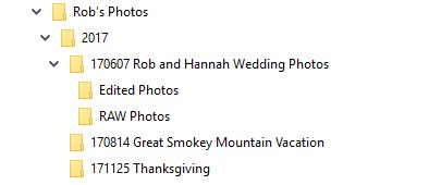 Photo Backup File Naming Structure