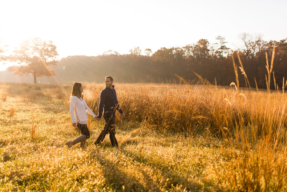 Chris and Emily's fall engagement session in the Manassas Battlefield Park.