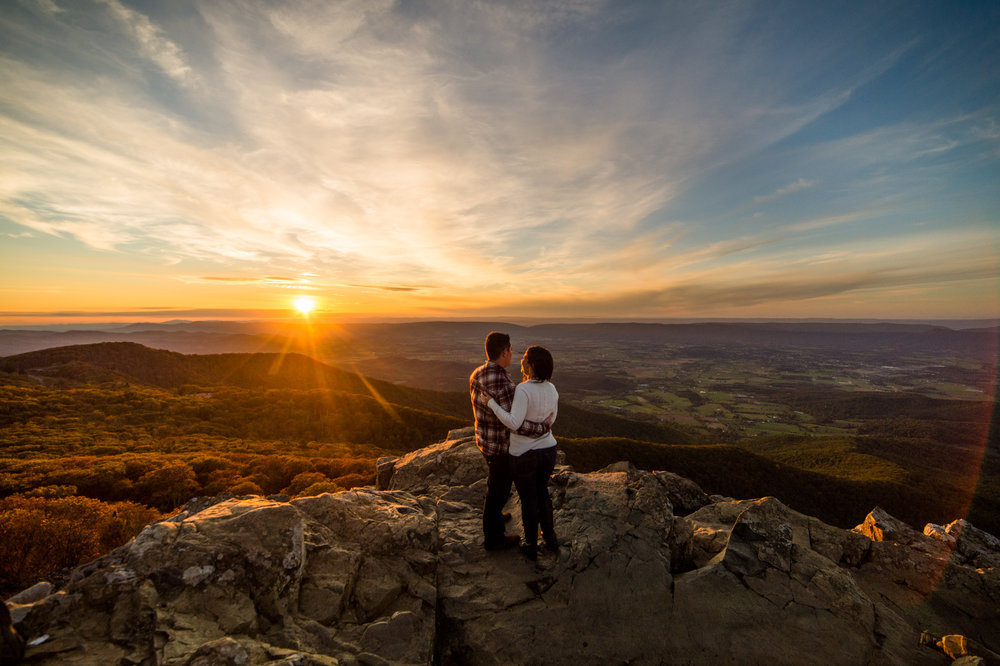 Shenandoah engagement session at sunset along skyline drive.