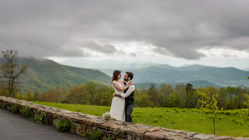 Skyline Drive wedding portrait