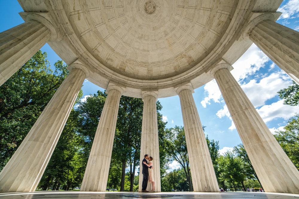 Wedding at the DC War Memorial along the Washington DC Mall.