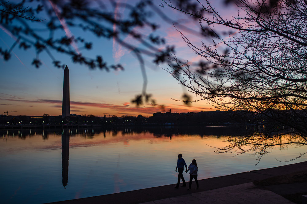 Engagement session at the Tidal Basin in Washington DC