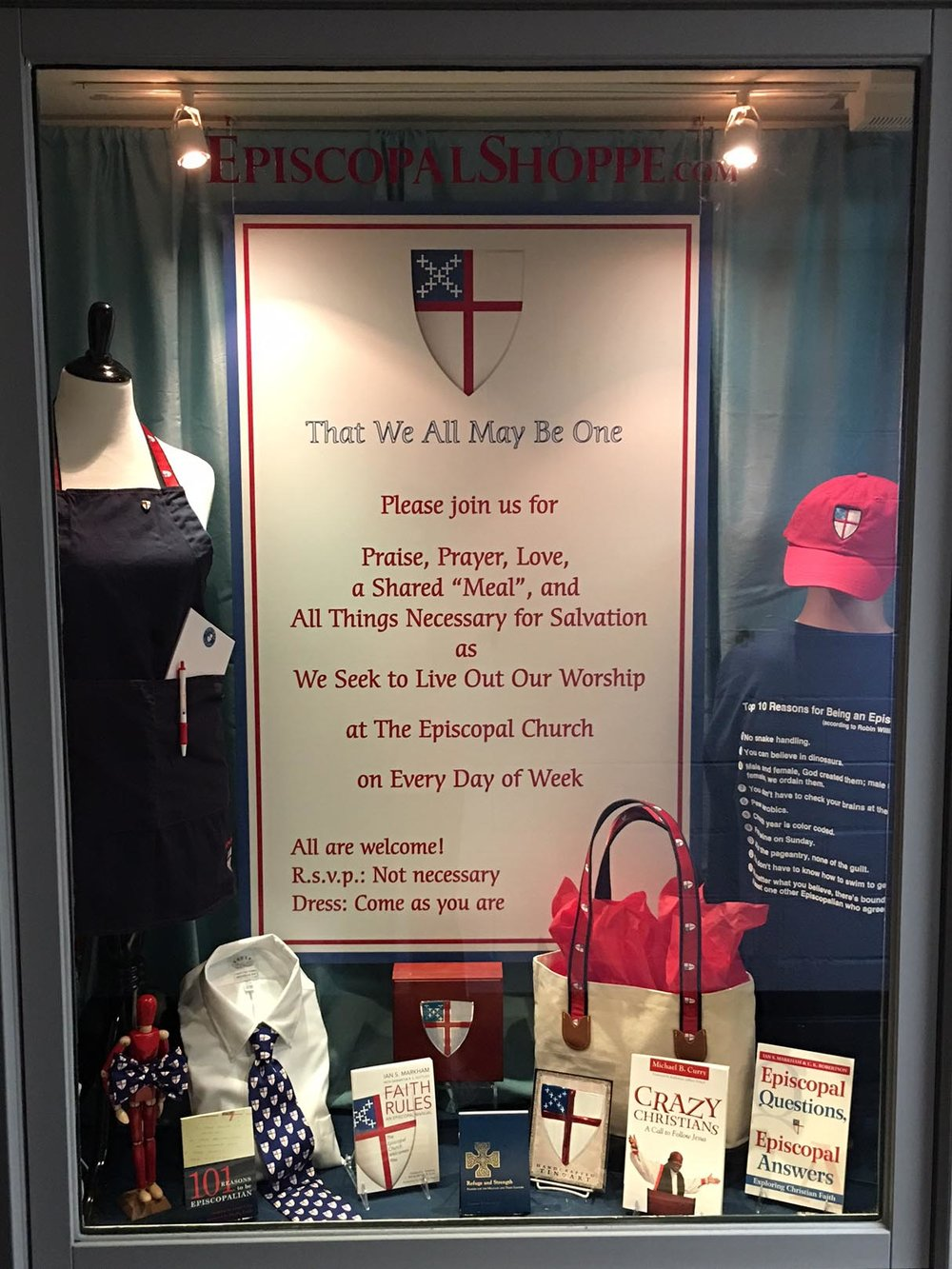 "this gift shop window highlights ""all things Episcopal"""