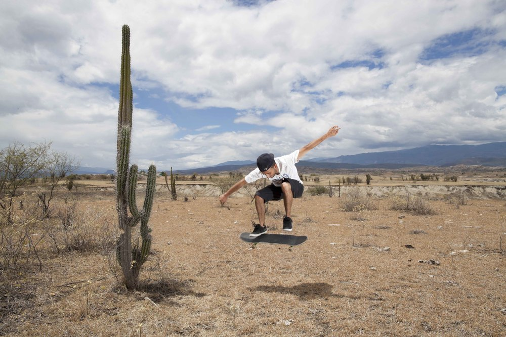 "Tatacoa Desert. 31 July 2012. Colombian Skateboarder Felipe Silva attempting to skate in the Tatacoa Desert, also called ""Sadness Valley"", 5 hours by bus from Felipe's hometown of Bogotá."