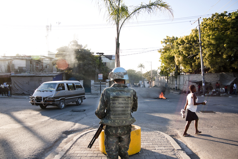 Port-au-Prince. 23 December 2011. Soldiers of the UN during minor troubles in Port-au-Prince.