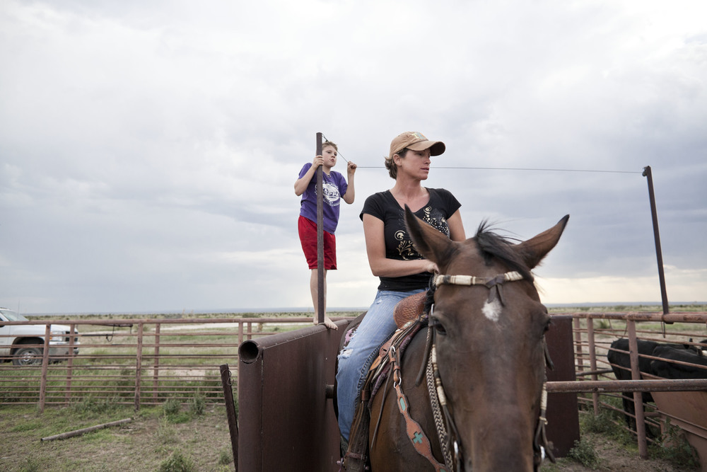 USA. Texas. Marfa. August 2013. Fawn Kibbe and her youngest son Wyatt  preparing for the practise of 'Steer Wrestling', a rodeo event where the horse-mounted rider drops from the horse and tries to wrestle the steer to the ground.