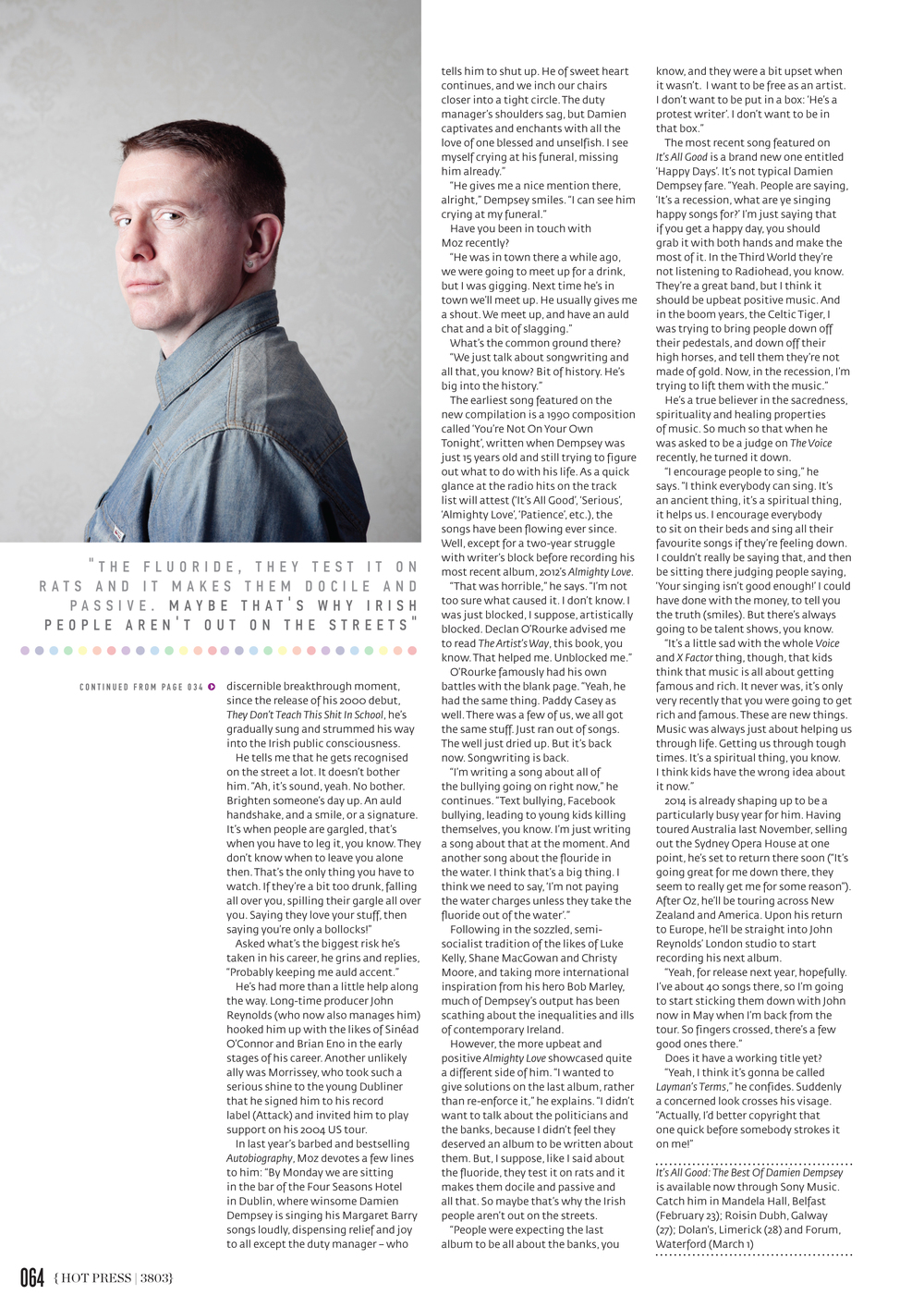 Damien Dempsey   photographed for   Hot Press   Magazine
