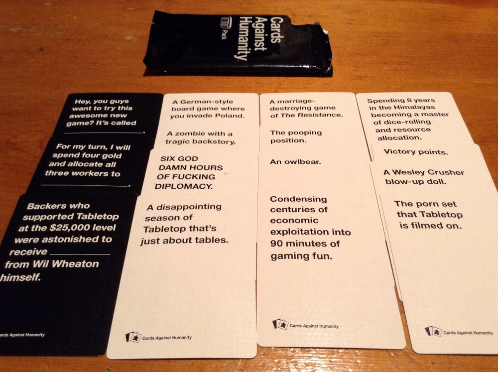 Special TableTop themed Cards Against Humanity cards!