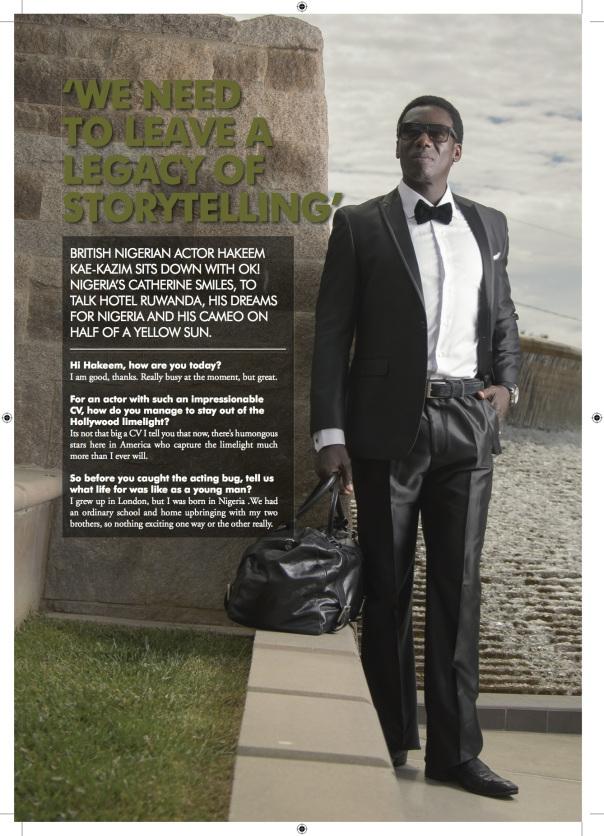 OK! Magazine interview with actor Hakeem Kae-Kazim wearing J.Cheikh. October 2013