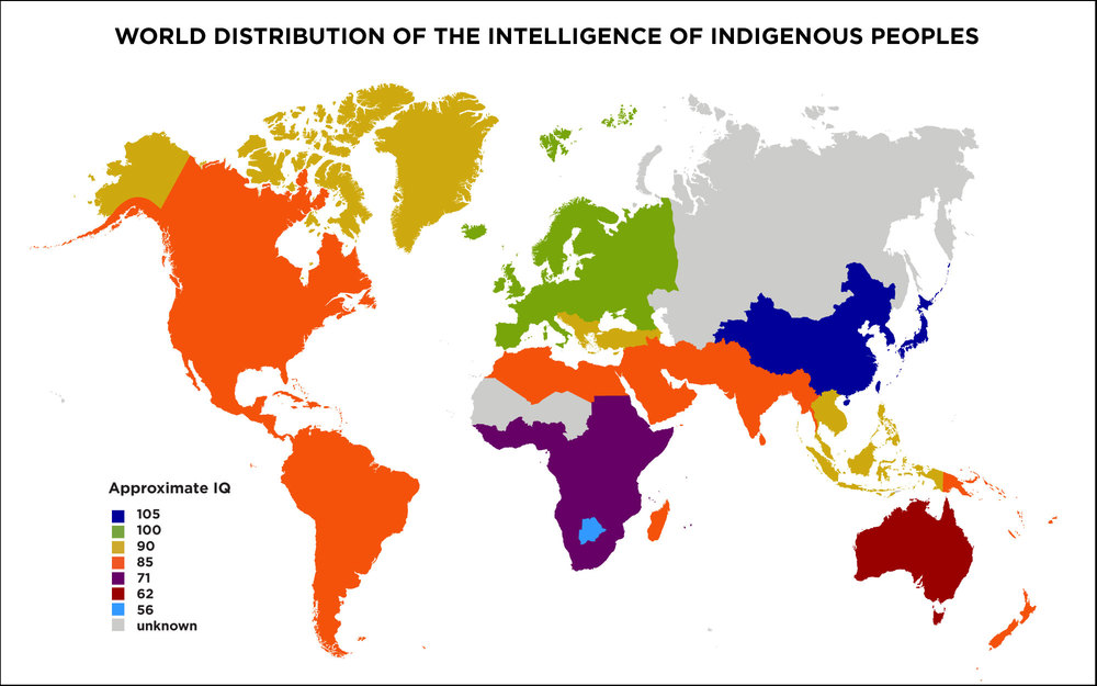 World IQ Map—from Richard Lynn's Race Differences in Intelligence
