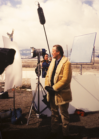 "Preparing to boom Peter Fonda for the History Channel four-part series ""The Rockies."""