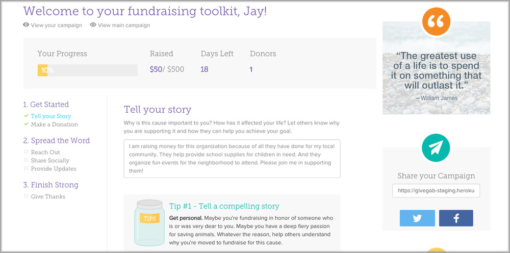 START CUSTOMIZING YOUR FUNDRAISER